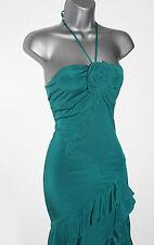KAREN MILLEN Green Stretch Silk Halterneck Frilled Cocktail Midi Dress UK 8 EU36