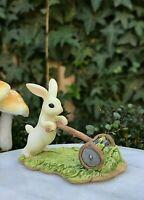 Miniature FAIRY GARDEN Figurine ~ Mini White Bunny Rabbit Gardener Mowing Lawn