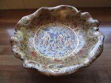 "Large Vintage Pottery 12"" Satsuma Moriage Pedestal Dish ~Rare~"