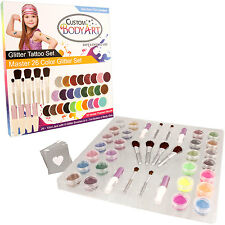 Custom Body Art - Master 26 Color Glitter Tattoo Set Kit 50 Stencil Designs Glue