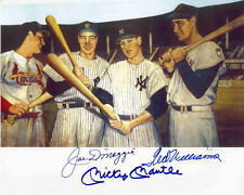 MICKEY MANTLE JOE DIMAGGIO TED WILLIAMS STAN MUSIAL SIGNED ART PHOTO REPRINT