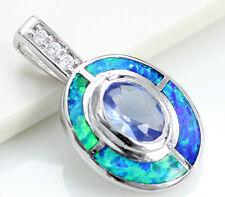 "Blue Sapphire & Australian Opal .925 Sterling Silver Necklace Pendant 1"""