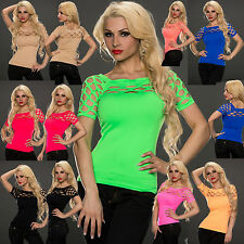 Sexy clubbing women cut out Fit Ladies Party Top Blouse Mesh Shirt 6 8 10 12 S M