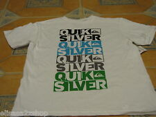 Boy's youth Quiksilver surf skate t shirt large kids word up TBAR white TEE NEW