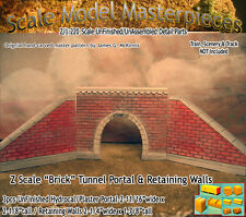 "Z Scale ""Brick"" Tunnel Portal & Retaining Walls (3pcs) Scale Model Masterpieces"