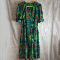 Vintage Women's 80s Turquoise Floral Print Pleated Buttoned Midi Dress Size M