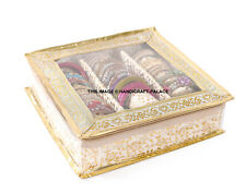 Indian Quilted Brocade Fabric 3 Section Bangle Jewellery Box Precious Item Case