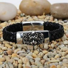 Mens Stainless Steel Silver Lion Head Braided Leather Bangle Bracelet + Box B243