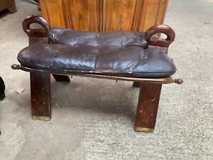 Vintage Antique Camel Stool Seat Footstool Brown Wood & Leather
