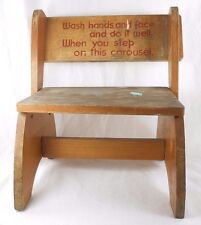 Vtg Child/Toddler Wood Folding Step Stool or Chair w/Rhyme 1950's Plant Stand