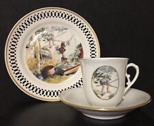 """Carl Larsson Bing & Grondahl Denmark Porcelain Tea 3 Pc Set """"Krebsefangst""""  Box"""