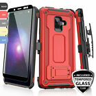 For [Samsung Galaxy A6 2018] Rugged Case 360° Belt Clip Holster +Tempered Glass