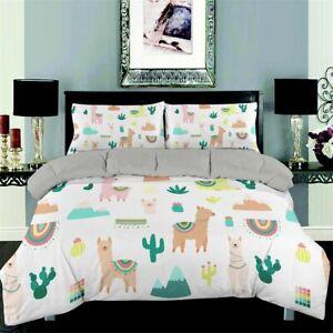 Bedding Set 3D Alpaca Queen Size Lovely Duvet Cover Cactus Comforter Bed Set