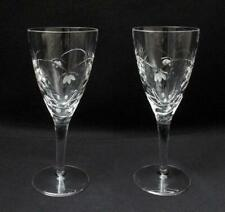 PAIR ROYAL DOULTON CUT CRYSTAL STEMMED WINE GLASSES GOBLETS REGALIA PATTERN