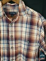 ST JOHNS BAY - NWT - Men's Size M bronze plaid Flannel Shirt Long Sleeve NEW