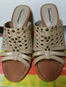 BARE TRAPS  Size 8.5 M  Charlisa stone Sandal Shoes Heels Studs tan NEW NO BOX