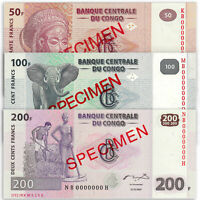 CONGO 50 100 200 Francs SPECIMEN SET 3 PCS 2007 P-97 98 99 UNC Uncirculated