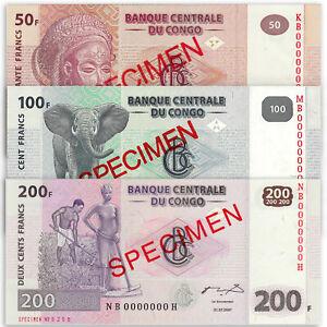 CONGO 50 100 200 Francs SPECIMEN SET 3 PCS 2007 P-97 98 99 UNC Uncirculated