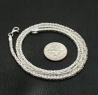 """18"""" Square Byzantine Chain Necklace Lobster Lock Real Solid Sterling Silver 925"""