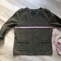 EUC Sanctuary womens jacket in Olive green W Gold Zipper sz L Large