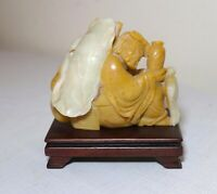 antique hand carved Chinese Shoushan hard stone figural man sculpture statue