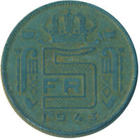 COIN / BELGIUM / 5 FRANC 1943  #WT4949