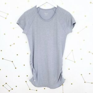 Athleta Top Size Large Gray Speedlight Tee Ruched Seamless Short Sleeves Workout