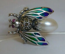 925 SILVER PLIQUE A JOUR NATURAL PEARL MARCASITE & RUBY EYE BUG BEE BROOCH PIN
