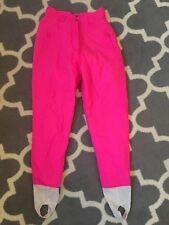 "Downhill Racer Vtg Ski Snow Pants Neon Hot Pink High Waist stir-up sz 10 (28"")"