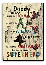 PERSONALISED DADDY GIFT, Superhero Father`s day Gift, DAD, Batman,Hulk, Plaque