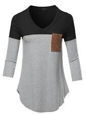 FashionOutfit Women's Basic Color Block Suede Pocket Top