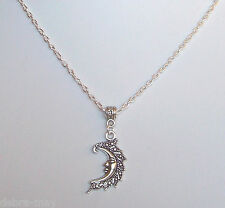 "Moon Goddess Crescent Moon Face Pendant 18"" Chain Necklace in Gift Bag"