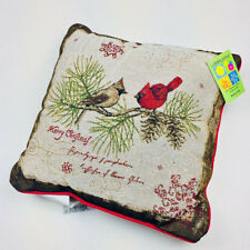 """Christmas Cardinals Pine Branch 17"""" Tapestry Square Pillow ~ Artist, Tim Coffey"""