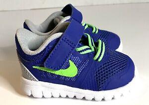 Toddler Nike Flex Athletic Shoe Midnight Navy Volt, Size 2 2C NWOB B