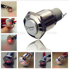 16mm 12V Red LED Momentary Push Button Metal Switch Car Boat Speakers Bell Horn