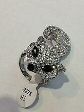 Fox Big Silver Fashion Ring White Rhinestones Women Girl Size 9 cute gift