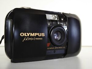 OLYMPUS MJU I BLACK PANORAMA SPECIAL EDITION 35MM FILM CAMERA TESTED & WORKING