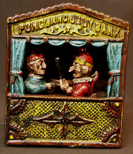 AA 1890 PUNCH AND JUDY BANK tirelire mecanique ancienne Money Mechanical Box 2kg