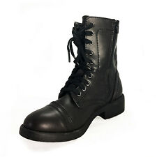 Summer Casual Lace up Faux Leather Ankle Winter BOOTS UK Sz 8 9 3 4 5 6 7 Black UK 4.5 ( Size Tag CN US 7)