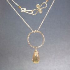 "Gemstone Necklace Whisky Quartz 14K Gold Filled Hammered Circle 18"" Chain USA"
