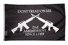 2nd Amendment Don't Tread on Me AR-15 M16 Crossed Rifles FLAG 3'x5' Black Guns