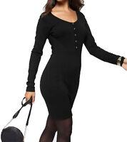 melrose Herbst-Kleid sehr figurbetontes Damen Strick-Kleid Knopfleiste Schwarz