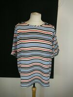Ladies Red White Blue Stripe Short Sleeve Blouse Top Button Shoulder Sz 18