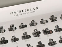PRL) HASSELBLAD CAMERAS HISTORY POSTER STORIA FOTOCAMERE AFFICHE PRINT STAMPA