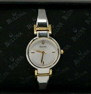 Bulova Silver & Gold Tone Womens Wrist Watch 98L140 w/Case