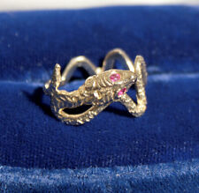Serpent Snake 14K Yellow Gold Wrap Ring With Ruby Stone Eyes