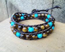 tiger eye  stone leather 2 wrap bracelet,women bracelet,size 12-15''handmade