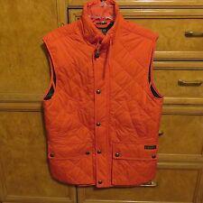 Men's Polo Ralph Lauren orange puffer vest plaid cotton lining size XS  NWT $198