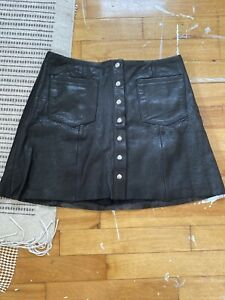 Reformation Leather Mini Skirt Recycled Size 4-6