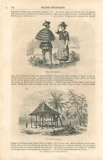 Cases des Indiens Tagalog/Tagal au Philippines GRAVURE ANTIQUE OLD PRINT 1860